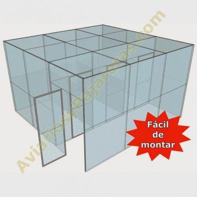 Pajarera paneles 3 compartimentos