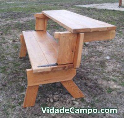Banco mesa artesano de madera sencillo tienda de for Mesa banco madera jardin