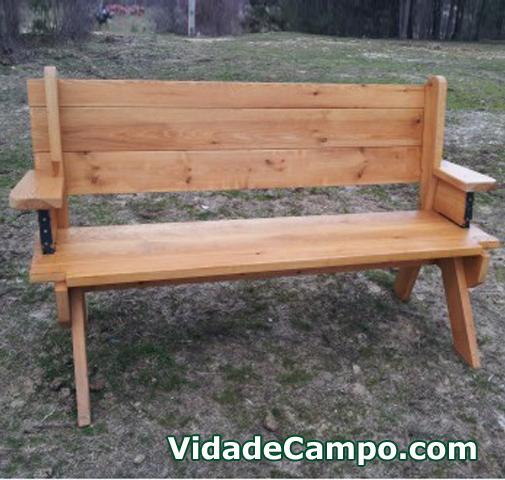 Banco mesa artesano de madera sencillo tienda de for Banco abierto sabado madrid